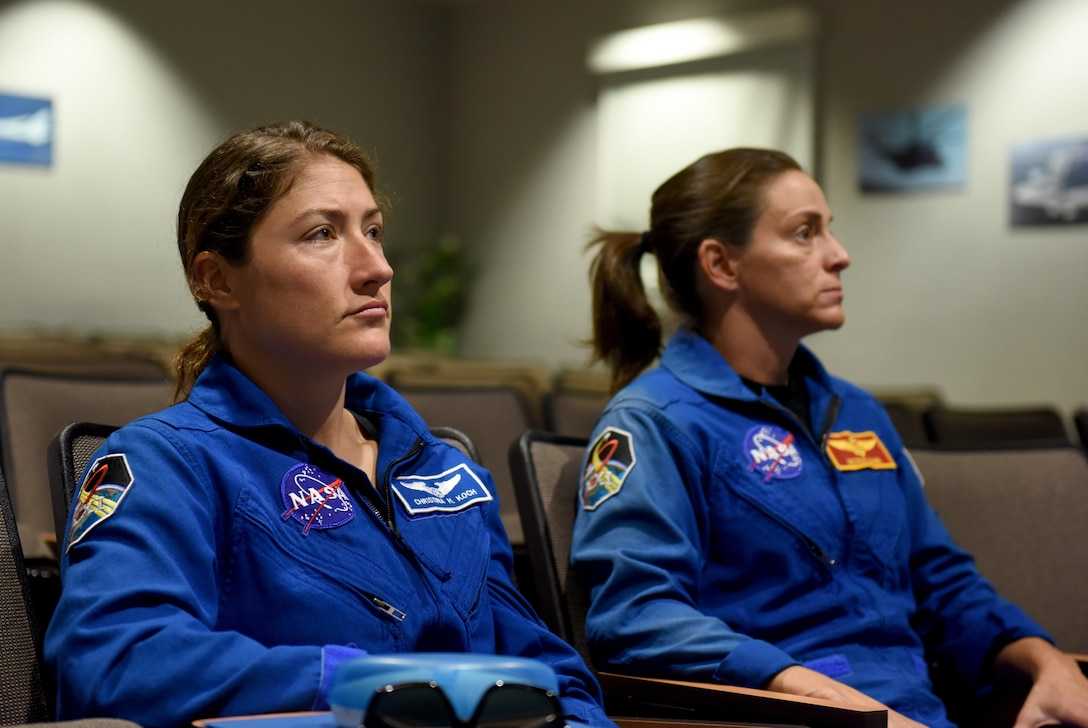 Christina Koch, NASA astronaut (left), and Lt. Col. Nicole Mann, United States Marine Corps, NASA astronaut, receive academic instruction on how their bodies will react to piloting aircraft at higher altitudes July 7, 2016, at Beale Air Force Base, California. Koch and Mann, graduated from astronaut candidate training in July 2015, and are now enrolled in Space Flight Readiness Training. (U.S. Air Force photo/ Senior Airman Bobby Cummings)