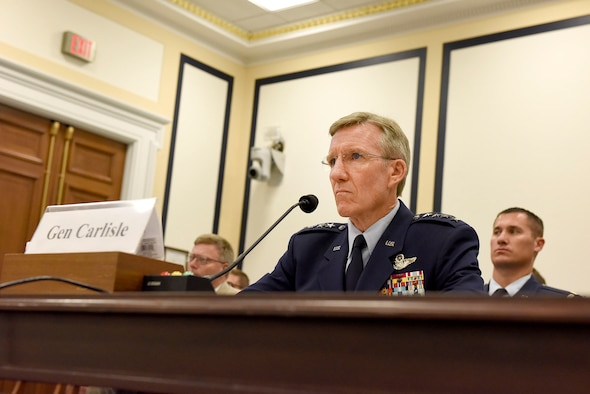 U.S Air Force Gen. Hawk Carlisle, commander of Air Combat Command, engages with the Tactical Air and Land Forces Subcommittee of the House Armed Services Committee in Washington, D.C., July 13, 2016. During the hearing, he discussed the importance of air superiority and the need to assure it by modernizing the Combat Air Force. (U.S. Air Force photo/Senior Airman Hailey Haux)