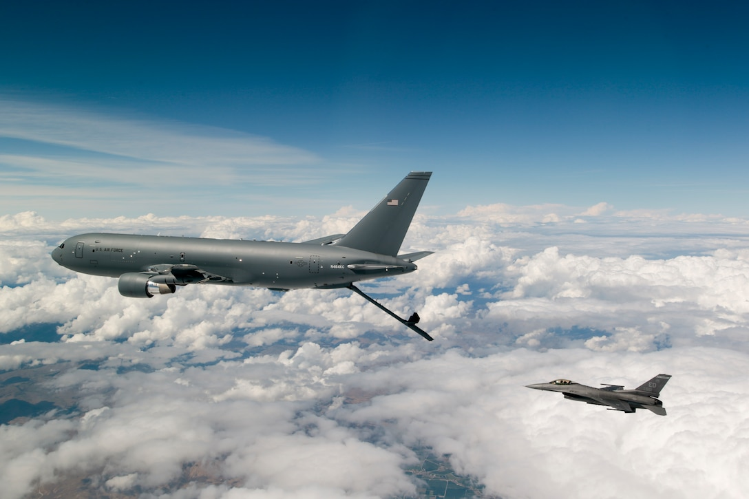 Boeing's KC-46 air refueling tanker resumed testing above Washington with assistance from F-16 Fighting Falcons assigned to the 416th Flight Test Suadron at Edwards Air Force Base, California. (U.S. Air Force photo by Christopher Okula)