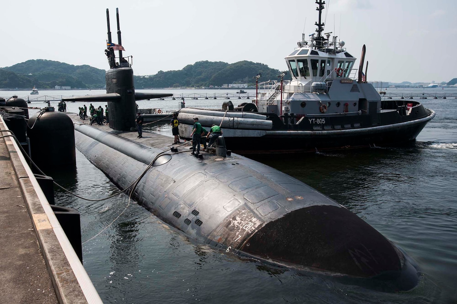 160712-N-ED185-022 FLEET ACTIVITIES YOKOSUKA, Japan (July 12, 2016) - The Los Angeles-class attack submarine USS Key West (SSN 722) prepares to moor at Fleet Activities Yokosuka. Key West is visiting Yokosuka for a port visit. U.S. Navy port visits represent an important opportunity to promote stability and security in the Indo-Asia-Pacific region, demonstrate commitment to regional partners and foster relationships. (U.S. Navy photo by Mass Communication Specialist 2nd Class Brian G. Reynolds/Released)