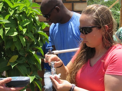 U.S. Army Sgt. Lori Dameron, Joint Task Force-Bravo Medical Element Preventive Medicine Specialist, from Bowling Green, Missouri, collects water samples from a home in Comayagua, Honduras, June 14, 2016. Dameron stated the JTF-Bravo team makes a difference by providing help the local community with their water and supplying them with the equipment to test for different their water and gain a greater understanding the importance of having clean, safe water to drink. (U.S. Army photo by 1Lt Jenniffer Rodriguez)