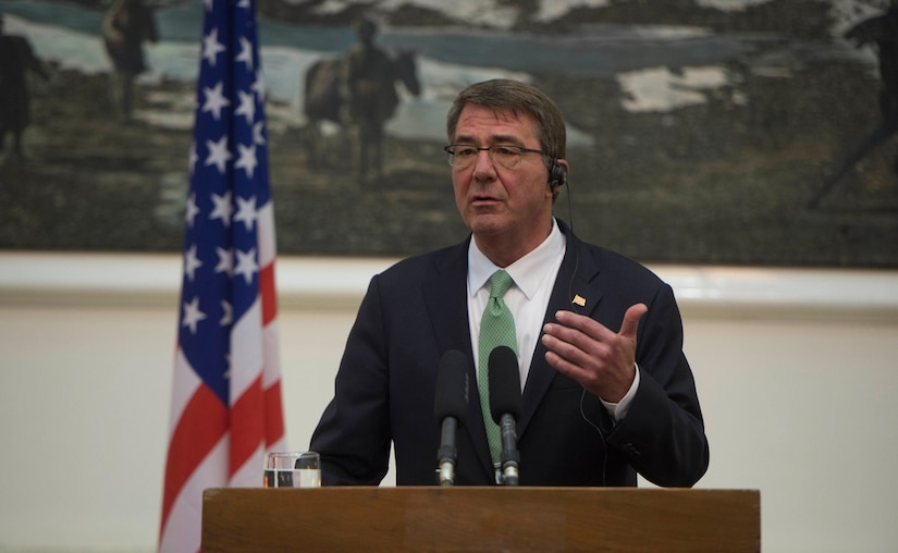 efense Secretary Ash Carter speaks during a news conference in Kabul, Afghanistan, July 12. Carter visited Afghanistan to meet with government leaders about the Resolute Support mission. (DoD photo by Navy Petty Officer 1st Class Tim D. Godbee)