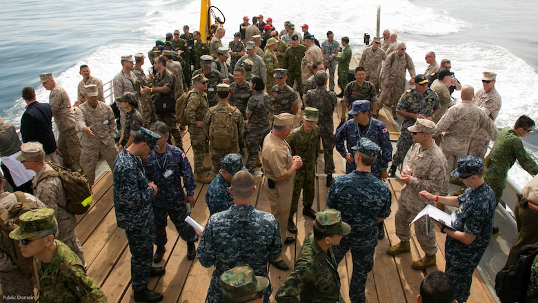 Senior U.S. and foreign military leaders head to sea for a skin-to-skin amphibious demonstration during the USPACOM Amphibious Leaders Symposium off the coast of U.S. Marine Corps Base Camp Pendleton, Calif., July 13, 2016. PALS brings together senior leaders of allied and partner nations from the Indo-Asia Pacific region to discuss key aspects of maritime/amphibious operations, capability development, crisis response, and interoperability. Twenty-two allied and partnered nations, including the U.S. are participating.