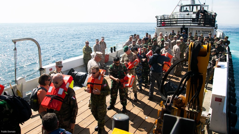 Senior U.S. and foreign military leaders prepare to embark the USNS John Glenn, not shown, during the USPACOM Amphibious Leaders Symposium off the coast of U.S. Marine Corps Base Camp Pendleton, Calif., July 13, 2016. PALS brings together senior leaders of allied and partner nations from the Indo-Asia Pacific region to discuss key aspects of maritime/amphibious operations, capability development, crisis response, and interoperability. Twenty-two allied and partnered nations, including the U.S. are participating.
