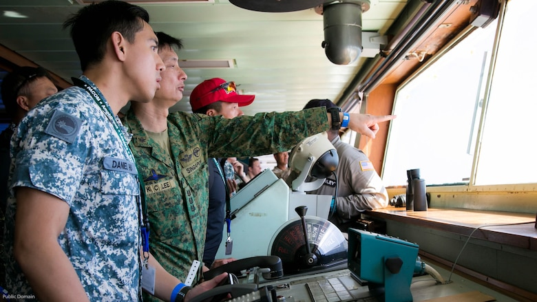 Foreign military leaders from Singapore participate in the USPACOM Amphibious Leaders Symposium at sea off the coast of U.S. Marine Corps Base Camp Pendleton, Calif., July 13, 2016. PALS brings together senior leaders of allied and partner nations from the Indo-Asia Pacific region to discuss key aspects of maritime/amphibious operations, capability development, crisis response, and interoperability. Twenty-two allied and partnered nations, including the U.S. are participating.