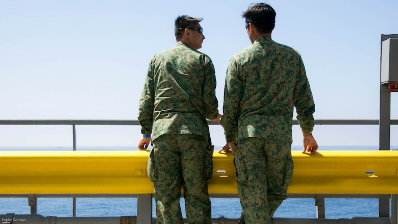 Foreign military leaders from Singapore watch a seabasing demonstration during the USPACOM Amphibious Leaders Symposium at sea off the coast of U.S. Marine Corps Base Camp Pendleton, Calif., July 13, 2016. PALS brings together senior leaders of allied and partner nations from the Indo-Asia Pacific region to discuss key aspects of maritime/amphibious operations, capability development, crisis response, and interoperability. Twenty-two allied and partnered nations, including the U.S. are participating.