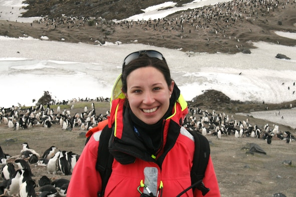 Capt. Hila Levy, an Air Force Reserve Individual Mobilization Augmentee, during a recent research trip to study penguins in the Antarctic. Levy is a doctoral student at Oxford University and a leader in the field of penguin research and genetics. She also serves her country as a Reserve intelligence officer at the Joint Reserve Intelligence Support Element, Royal Air Force Molesworth, United Kingdom, where she is the division chief of training.