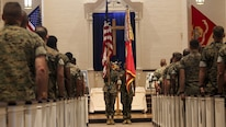 Marines with 2nd Battalion, 10th Marine Regiment, held a memorial ceremony for Staff Sgt. Louis F. Cardin at the Protestant Chapel at Marine Corps Base Camp Lejeune, North Carolina, July 14, 2016. Cardin was supporting Operation Inherent Resolve in Iraq when he was killed March 19 while serving as a member of Task Force Spartan. Task Force Spartan was comprised of Marines from the 26th Marine Expeditionary Unit and was responsible for providing indirect fire support to Iraqi security forces near the town of Mosul.