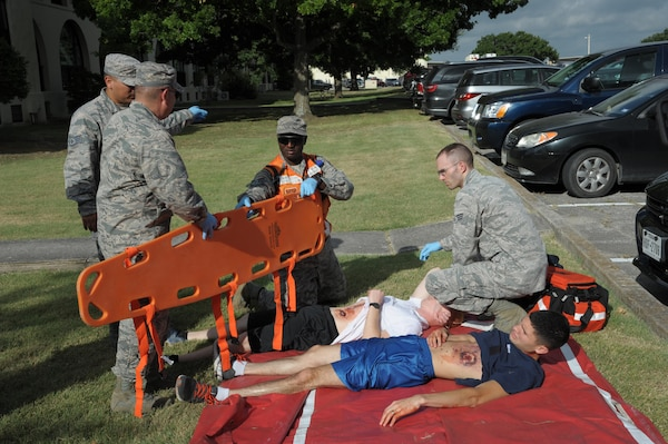 359th Medical Group personnel provide treatment to a 