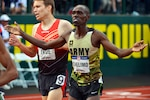 Army Spc. Paul Chelimo finishes the 5,000 meter final in third place during the 2016 U.S. Olympic Track and Field Trials at Hayward Field in Eugene, Ore., July 9, 2016. Army photo by Tim Hipps