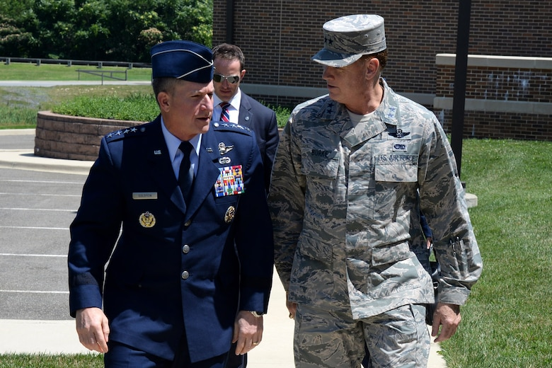 Air Force District of Washington Commander Maj. Gen. Darryl Burke greets Chief of Staff of the U.S. Air Force Gen. David Goldfein during the Senior Enlisted Leader International Summit (SELIS) on Joint Base Andrews, Md., July 14, 2016. The SELIS is a forum of international senior enlisted leaders hosted by Chief Master Sergeant of the Air Force James A. Cody. (U.S. Air Force photo/ Tech. Sgt. Matt Davis)