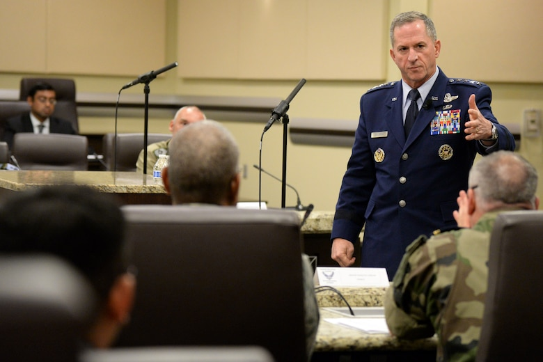 Chief of Staff of the U.S. Air Force Gen. David Goldfein briefs attendees on current operations during the Senior Enlisted Leader International Summit (SELIS) on Joint Base Andrews, Md., July 14, 2016. The SELIS is a forum of international senior enlisted leaders hosted by Chief Master Sergeant of the Air Force James A. Cody. (U.S. Air Force photo/ Tech. Sgt. Matt Davis)