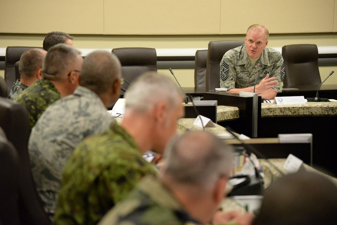 Chief Master Sergeant of the Air Force James A. Cody gives opening remarks with attendees at the Senior Enlisted Leader International Summit (SELIS) on Joint Base Andrews, Md., July 13, 2016. The SELIS is a forum of international senior enlisted leaders hosted by the CMSAF. (U.S. Air Force photo/ Tech. Sgt. Matt Davis)