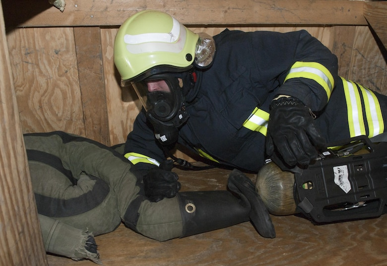 Lithuanian air force Maj. Tomas Zukauskas, firefighter, participates in a 435th Construction and Training Squadron-led training exercise July 11, 2016, at Ramstein Air Base, Germany. The 435th CTS provides its allies equipment and environments to harbor productive training exercises to ensure a high standard of maintaining mission-readiness across Europe.