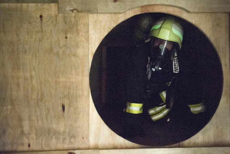 Lithuanian air force Maj. Tomas Zukauskas, firefighter, participates in a training exercise hosted by the 435th Construction and Training Squadron July 11, 2016, at Ramstein Air Base, Germany. The exercise allowed U.S. Airmen to oversee training events involving Lithuanian firefighters and coordinated with them to ensure that safety precautions and training capabilities were met.
