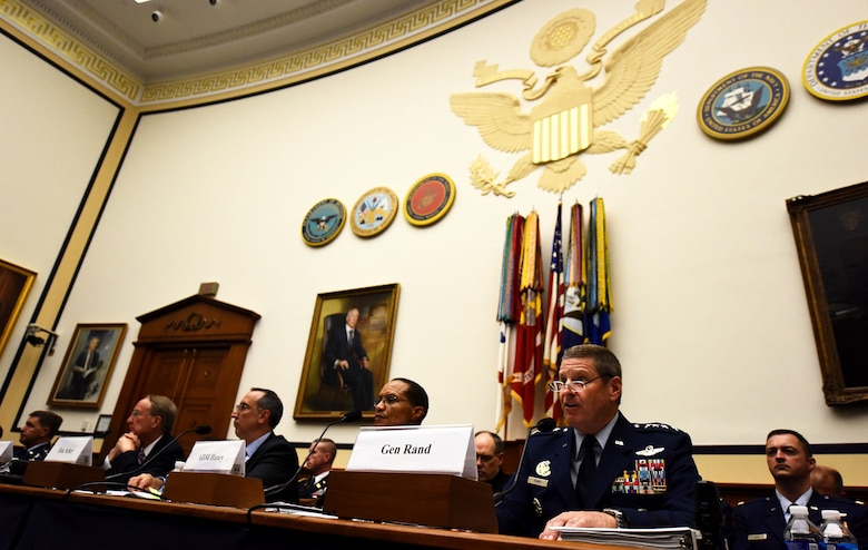 Gen. Robin Rand, commander of Air Force Global Strike Command, testifies during a House Armed Services Strategic Forces Subcommittee hearing in Washington, D.C., July 14, 2016. In his testimony, Rand stressed the need to modernize and recapitalize the bomber and ICBM legs of the U.S. nuclear triad in order to protect weapons system reliability and their survivability in anti-access, area denial environments. (U.S. Air Force photo/Senior Airman Hailey Haux)