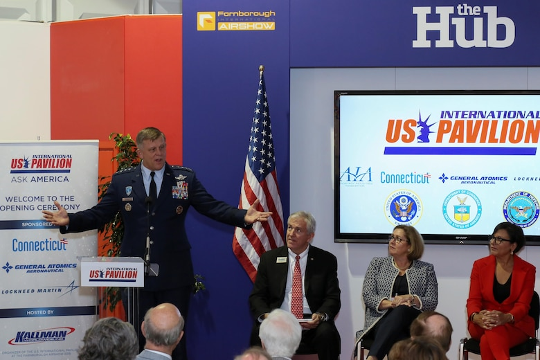 Gen. Frank Gorenc, U.S. Air Forces in Europe and Air Forces Africa commander, speaks to attendees of an opening day ceremony at the U.S. pavilion, July 11, 2016, at the Farnborough International Air Show. Held every two years, the air show represents a unique opportunity for the U.S., along with other military allies, to showcase its leadership in aerospace technologies while supporting various armament procurement competitions taking place throughout Europe. (Courtesy photo by Chris Meyer)