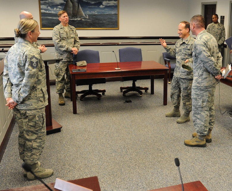 Col. Todd Weyerstrass, 2nd Air Force vice commander, receives a tour of the legal office at the Sablich Center during an 81st Training Wing orientation tour July 12, 2016, on Keesler Air Force Base, Miss. The purpose of the tour was to become familiar with the wing's mission, operations and personnel. (U.S. Air Force photo by Kemberly Groue/Released)