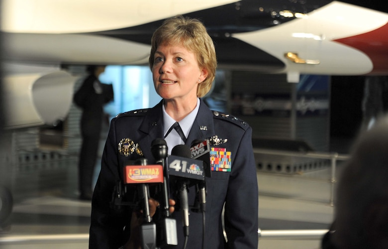 Lt. Gen. Maryanne Miller, speaks to the media following the Air Force Reserve Command change of command ceremony at the Museum of Aviation Century of Flight Hangar July 15, 2016. Miller, who took command of AFRC, is the first female Citizen Airman to hold the position. She is also the first female Citizen Airman to achieve the rank of lieutenant general. (U.S. Air Force photo by Tommie Horton)