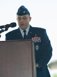 Col. Craig Lambert, 628th Medical Group commander, speaks during a change of command ceremony in Nose Dock 2 at Joint Base Charleston, July 14, 2016. Lambert performed duties as a missile launch officer and instructor before being selected in 1999 to become a Medical Service Corps officer. (U.S. Air Force Photo/Airman Megan Munoz)