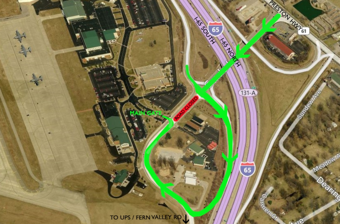 A project to realign Grade Lane so it no longer bisects the Kentucky Air National Guard base in Louisville was completed July 1, 2016. Access to the base's main gate changed, however, as depicted in this diagram. (U.S. Air National Guard photo illustration by Master Sgt. Phil Speck)