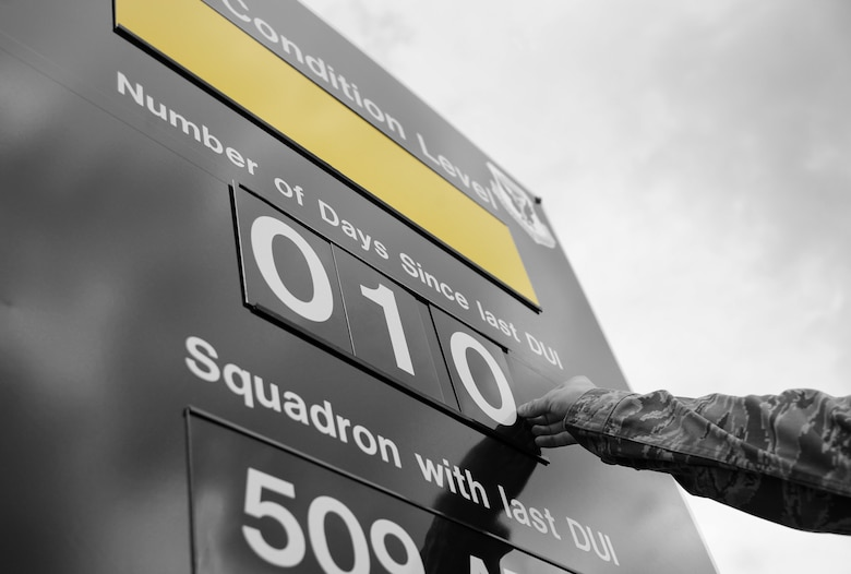 An Airman changes the number of days since the last DUI on the DUI condition level sign at Whiteman Air Force Base, Mo., July 13, 2016. In an attempt to further prevent Airmen from getting behind the wheel while intoxicated, the 509th Bomb Wing implemented a DUI Battle Plan. The plan serves as a tool for commanders and supervisors to ensure Airmen and members of Team Whiteman understand the risks of drunken driving and the importance of responsible decision making with regard to their safety and the safety of others on the road. (U.S. Air Force photo by Senior Airman Joel Pfiester)