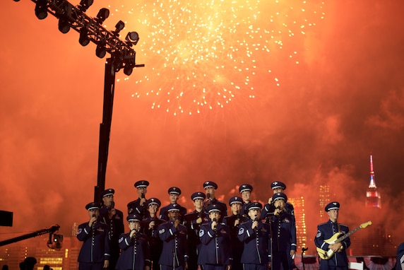 The United States Air Force Concert Band, the Singing Sergeants, and the Air Force Strings all teamed up for a performance at the Macy's 4th of July Fireworks display in New York City, which aired on NBC. (U.S. Air Force photo/Chief Master Sgt. Bob Kamholz)