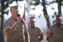 U.S. Marine Corps Brig. Gen. Edward D. Banta, outgoing commanding general, Marine Corps Installations West-Marine Corps Base, Camp Pendleton, addresses the audience during a change of command ceremony at the Santa Margarita Ranch House National Historic Site on Camp Pendleton, Calif., July 15, 2016. (U.S. Marine Corps photo by Cpl. Brian D. Bekkala)