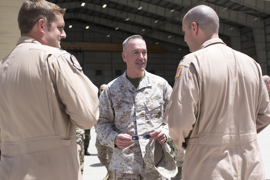 Marine Corps Gen. Joe Dunford, chairman of the Joint Chiefs of Staff, meets with members of Train, Advise, Assist Command – Air at Bagram Airfield, Afghanistan.