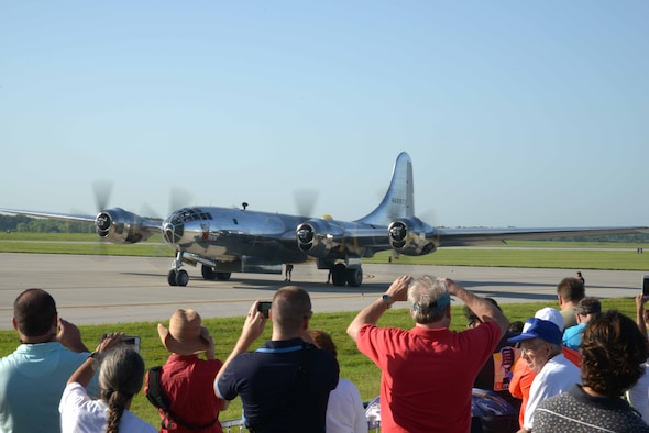 A B-29 Superfortress, known as 'Doc,' taxis before takeoff for its first flight in approximately 60 years, July 17, 2016, at McConnell Air Force Base, Kan.  Hundreds of people gathered on and around McConnell AFB to watch this historic flight. (U.S Air Force photo/Christopher Thornbury)