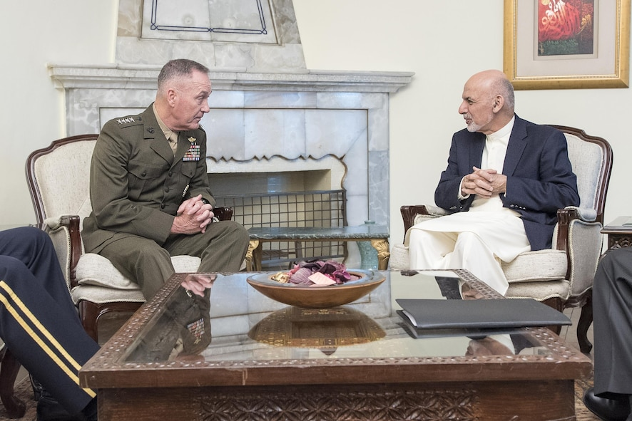 Marine Corps Gen. Joe Dunford, chairman of the Joint Chiefs of Staff, meets with Afghan President Ashraf Ghani at the presidential palace in Kabul, Afghanistan.