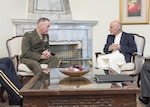 Marine Corps Gen. Joe Dunford, chairman of the Joint Chiefs of Staff, meets with Afghan President Mohammed Ashraf Ghani at the presidential palace in Kabul, Afghanistan, July 17, 2016. Dunford met senior leaders of the Afghan government as part of his overall assessment of the Resolute Support mission. DoD photo by Navy Petty Officer 2nd Class Dominique A. Pineiro