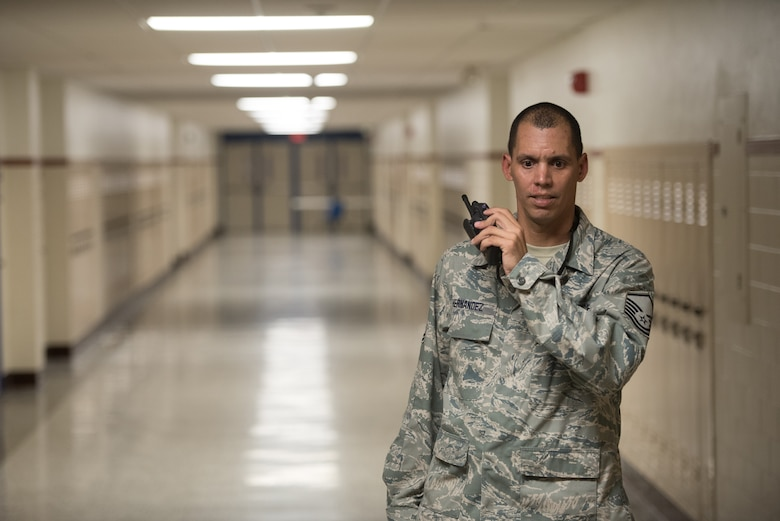 Master Sgt. Edwin Hernandez, NCOIC for Terminal 136 Joint Incident Site Communications Capability in the Puerto Rico Air National Guard's 156th Airlift Wing, tests radio communications at Paducah Tilghman High School in Paducah, Ky., July 16, 2016, in preparation for Bluegrass Medical Innovative Readiness Training. The program will offer medical and dental care at no cost to residents in three Western Kentucky locations from July 18 to 27. (U.S. Air National Guard photo by Master Sgt. Phil Speck)
