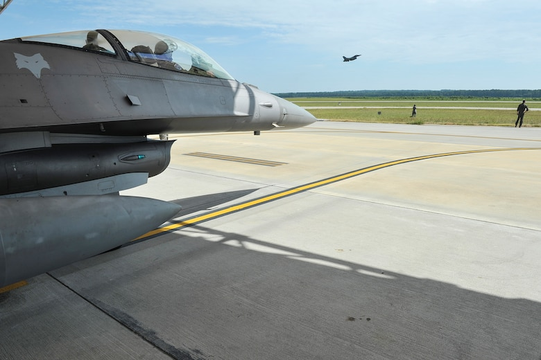 A U.S. Air Force F-16 Block 52 Fighting Falcon jet assigned to the 169th Fighter Wing, South Carolina Air National Guard, takes off from McEntire Joint National Guard Base, S.C., July 11, 2016. Approximately 300 U.S. Airmen and 12 F-16 Fighting Falcon jets from the 169th Fighter Wing at McEntire JNGB, S.C., are deploying to Osan Air Base, Republic of Korea, as the 157th Expeditionary Fighter Squadron in support of the U.S. Pacific Command Theater Security Package. (U.S. Air National Guard photo by Tech. Sgt. Jorge Intriago)
