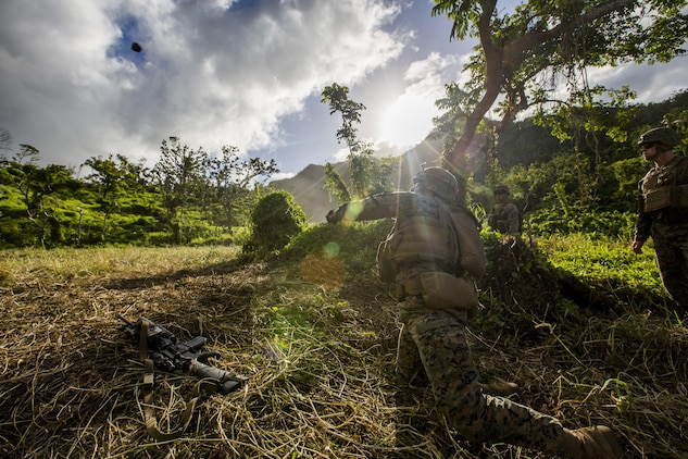 U.S. Marine Lance Cpl. Nathan H. Steed with Task Force Koa Moana 16.2 launches a simulated grenade while conducting integrated fire-team buddy rushes with Soldiers from the Republic of Fiji Military Forces on Ovalau, Fiji, July 13, 2016. Fiji is part of Task Force Koa Moana's deployment throughout the Asia- Pacific region, where Marines and Sailors will share engineering and infantry skills with the RFMF to strengthen mil-to-mil relationships and interoperability. (U.S. Marine Corps imagery by MCIPAC Combat Camera Lance Cpl. Jesus McCloud/ Released)