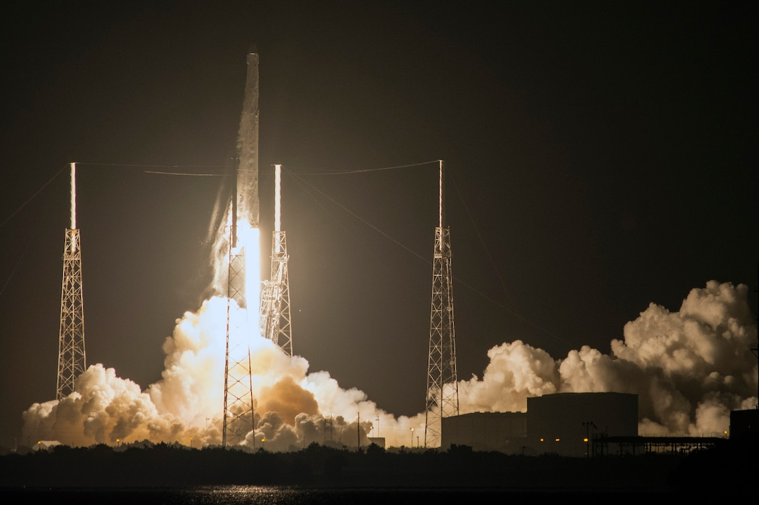 The 45th Space Wing supported SpaceX's successful launch of a Falcon 9 Dragon spacecraft headed to the International Space Station from Space Launch Complex 40 here July 18, 2016, at 12:45 a.m. ET. At approximately eight minutes after the launch, SpaceX successfully landed the Falcon 9 first-stage booster at Landing Zone 1 on Cape Canaveral Air Force Station, Fla.This Falcon 9 Dragon launch was the 13th major launch operation for the Eastern Range this year, and marks the ninth contracted mission by SpaceX under NASA's Commercial Resupply Services contract. (Courtesy photo by SpaceX)