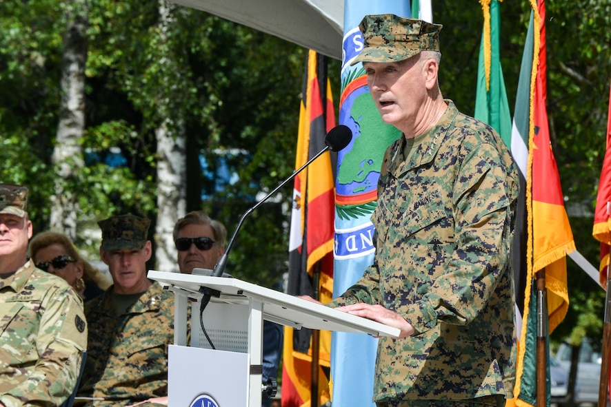 Marine Corps Gen. Joe Dunford, chairman of the Joint Chiefs of Staff, speaks at the U.S. Africa Command change-of-command ceremony.