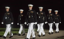 Marines from Marine Barracks Washington, D.C., perform during the Evening Parade, July 15, 2016. The guest of honor for the parade was the Honorable John Cornyn, United States Senator for Texas, and the hosting official was Gen. Robert Neller, commandant of the Marine Corps. (Official Marine Corps photo by Lance Cpl. Robert Knapp/Released)