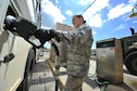 Senior Airman Lisa Exline, a vehicle operator with the 1st Special Operations Logistics Readiness Squadron, puts gas in a bus at Hurlburt Field, Fla., July 15, 2016. The 1st SOLRS will be supporting the Air Force Special Operations Command Change of Command July 19, 2016, by providing a shuttle service. Pickup locations include the Base Chapel, the Aderholt Gym, 4th Aircraft Maintenance Unit and the Base Exchange. (U.S. Air Force photo by Airman Dennis Spain)