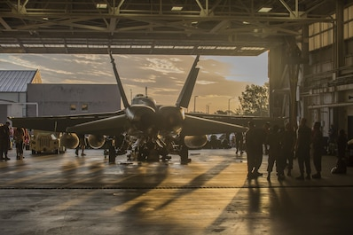 Marines, their families and friends gather inside Marine Fighter Attack Squadron 115's hangar prior to departing on a Western Pacific deployment as part of the Unit Deployment Program at Marine Corps Air Station Beaufort July 7.