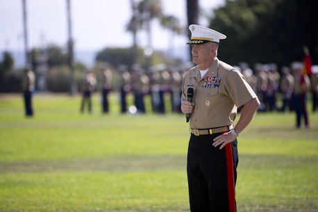 U.S. Marine Corps Brig. Gen. William M. Jurney, incoming commanding general of Marine Corps Recruit Depot (MCRD) San Diego and the Western Recruiting Region (WRR), delivers a speech during a change of command ceremony aboard MCRD San Diego, Calif., July 15, 2016. The ceremony was held in honor of Brig. Gen. James W. Bierman, who relinquished his post as commanding general of MCRD San Diego and Western Recruiting Region to Jurney. (U.S. Marine Corps photo by Lance Cpl. Erick J. ClarosVillalta)