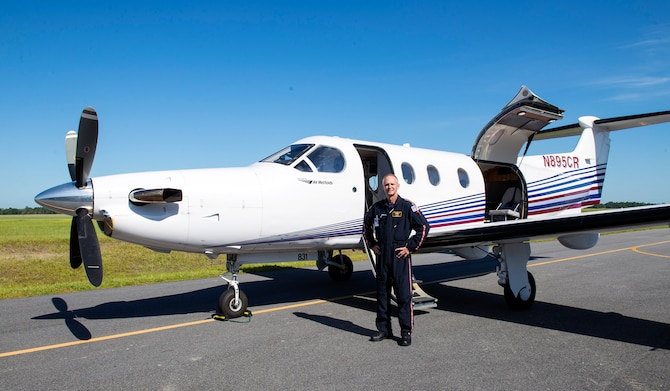 U.S. Air Force Reserve Master Sgt. Rusty Harrell, 476th Fighter Group career assistance advisor, stands in front of a Pilatus PC-12 aircraft at a local airport, July 13, 2016, in Valdosta, Ga. After serving 12 years active duty as an armament systems technician and taking a 12-year hiatus from military service, Harrell reintegrated into the Air Force Reserves in 2011 to continue his military legacy and also pursue a career as a civilian pilot. (U.S. Air Force photo by Airman 1st Class Greg Nash)