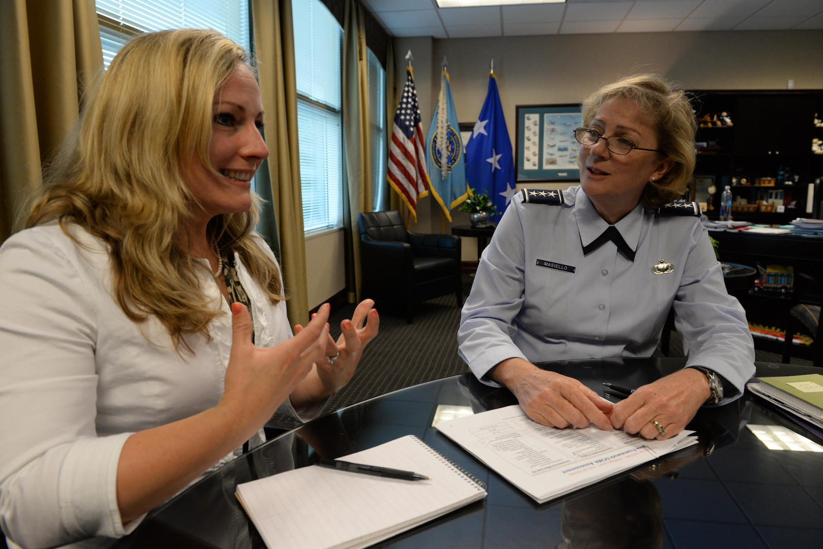 Rollins takes advantage of office time with agency Director Air Force Lt. Gen. Wendy Masiello, during a recent job shadowing opportunity at the agency headquarters.