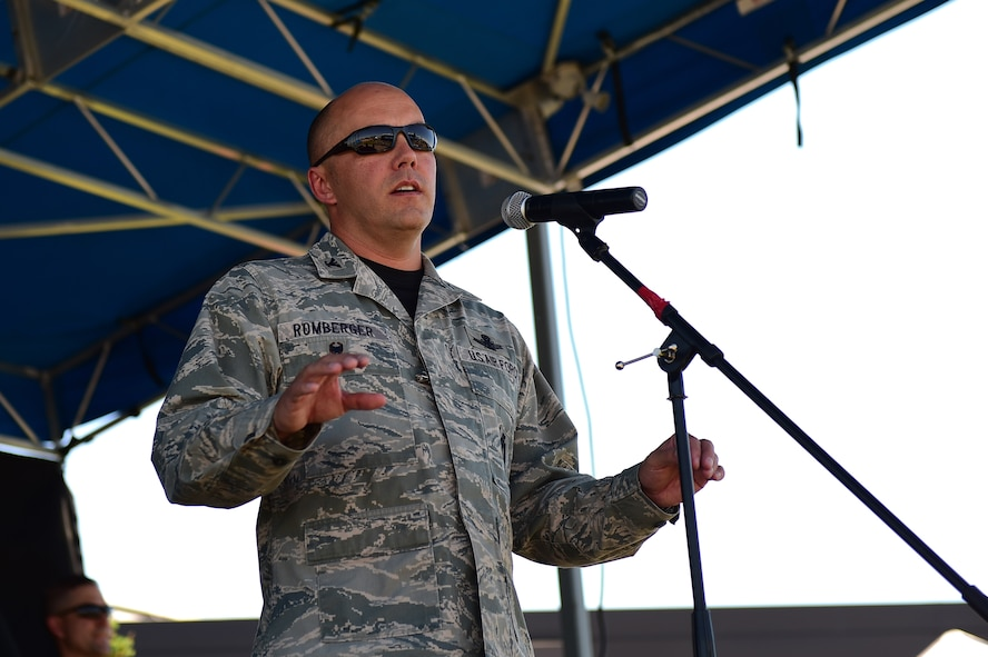 Col. Scott Romberger, 460th Space Wing vice commander, provides opening remarks July 15, 2016, to kickoff Diversity Day on Buckley Air Force Base, Colo. Diversity Day provided an opportunity to explore and celebrate the accomplishments and cultures of a diverse military force, which included food, dancing and music from various cultures. (U.S. Air Force photo by Airman 1st Class Gabrielle Spradling/Released)