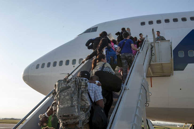 Families of U.S. airmen and families of Defense Department civilians board an Atlas Air 747 airliner at Incirlik Air Base, Turkey, April 1, 2016. Family members and civilians were ordered to depart the base. U.S. personnel and family members who remained in Turkey are safe in the aftermath of a July 15, 2016, coup attempt there, Pentagon Press Secretary Peter Cook told reporters July 18, 2016. Air Force photo by Staff Sgt. Jack Sanders