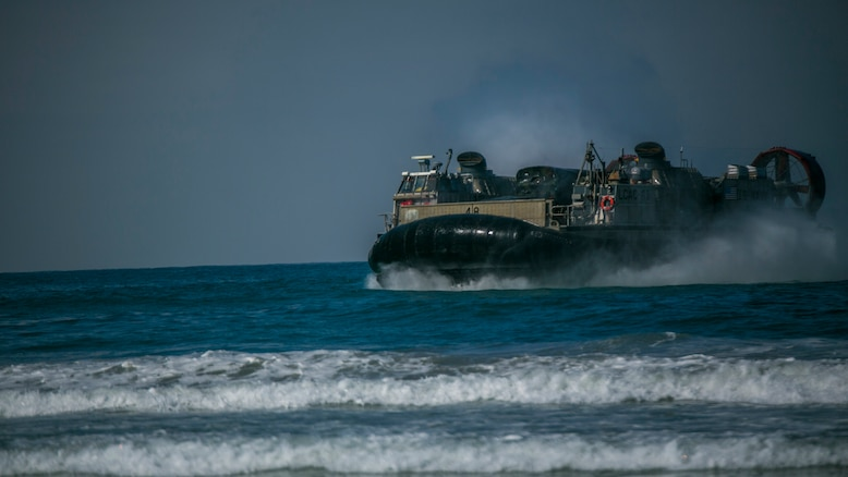 Marines with 4th Tank Battalion, 4th Marine Division, Marine Forces Reserve, perform a beach landing on a landing craft air cushion during their annual training aboard Marine Corps Base Camp Pendleton, California, July 16, 2016. Annual training exercises ensure that Reserve Marines are trained and prepared for any future operation or contingency.