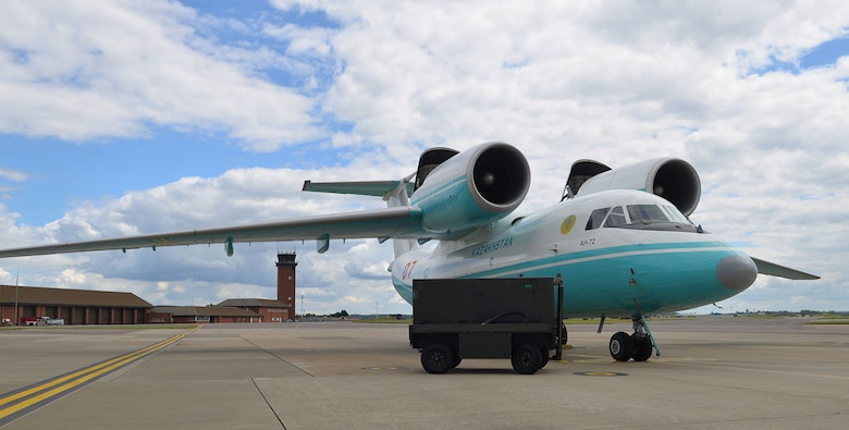 A Kazakhstan air force AN-72 Antonov sits on a hardstand near the aircraft control tower July 14, 2016, on RAF Mildenhall, England. The aircraft, along with two C-295M military twin-turboprop transport aircraft from the Kazakhstan air force were here supporting Exercise Steppe Eagle, training to ensure they are able to deploy in support of peacekeeping missions whenever necessary. (U.S. Air Force photo by Karen Abeyasekere)