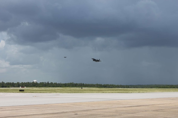 An F-15E lands at Eglin Air Force Base, Florida, July 8, 2016, after a mission in which Boeing F-15 mission systems recorded its first flight with the Advanced Display Core Processor. The advanced mission computer, based on commercial technology, provides multi-core processing capabilities propelling the F-15 to the forefront of fighter embedded computing systems. The ADCP II high-speed processing and interface designs enable advanced