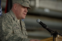 U.S. Air Force Col. Stephen Scherzer, 52nd Maintenance Group commander, speaks during a redesignation ceremony in Hangar One at Spangdahlem Air Base, Germany, July 14, 2016. The 52nd Component Maintenance Squadron and 52nd Equipment Maintenance Squadron have been retired and are now consolidated into the new 52nd Maintenance Squadron. (U.S. Air Force photo by Staff Sgt. Jonathan Snyder/Released)