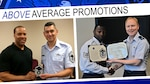 From left, Air Force Tech. Sgt. Anthony Stewart, assigned to Defense Contract Management Agency Lockheed Martin Ft. Worth, is presented his new rank insignia by Air Force Chief Master Sgt. Michael Mitchell, DCMA senior enlisted advisor; and Air Force Tech. Sgt. Armon Parker, assigned to agency headquarters, is presented his certificate of promotion by Air Force Col. Kurt Mencke, Military Personnel Division director. Four DCMA team members were recently selected for master sergeant, an 80 percent promotion rate compared to the Air Force average of 23 percent.